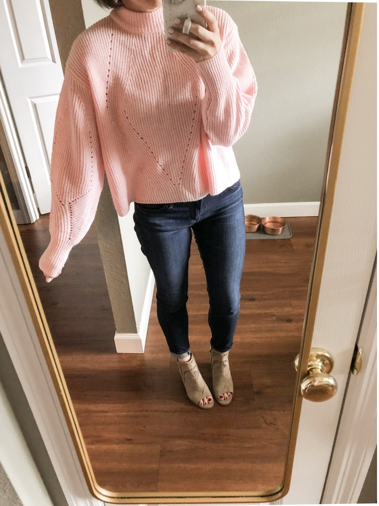 pink poin telle sweater with balloon sleeves. hit or miss for a fall sweater?