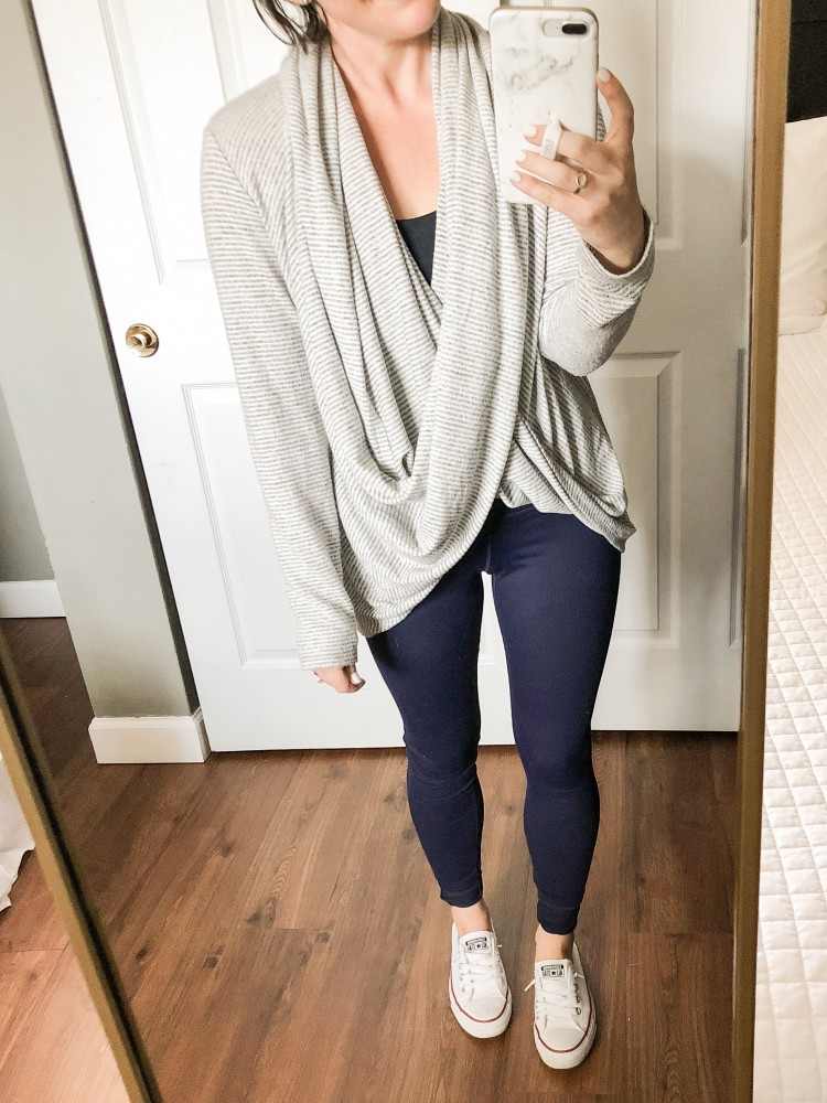 4 ways to wear a convertible wrap sweater - navy leggings, converse sneakers - #momstyle