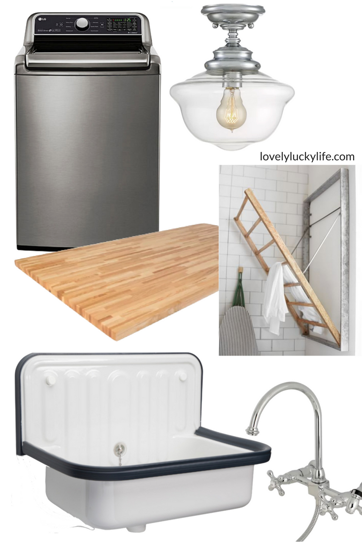 modern farmhouse laundry room moodboard - butcher block countertops, stainless steel accents, a washtub sink and a wall mount spray faucet - #laundryroom