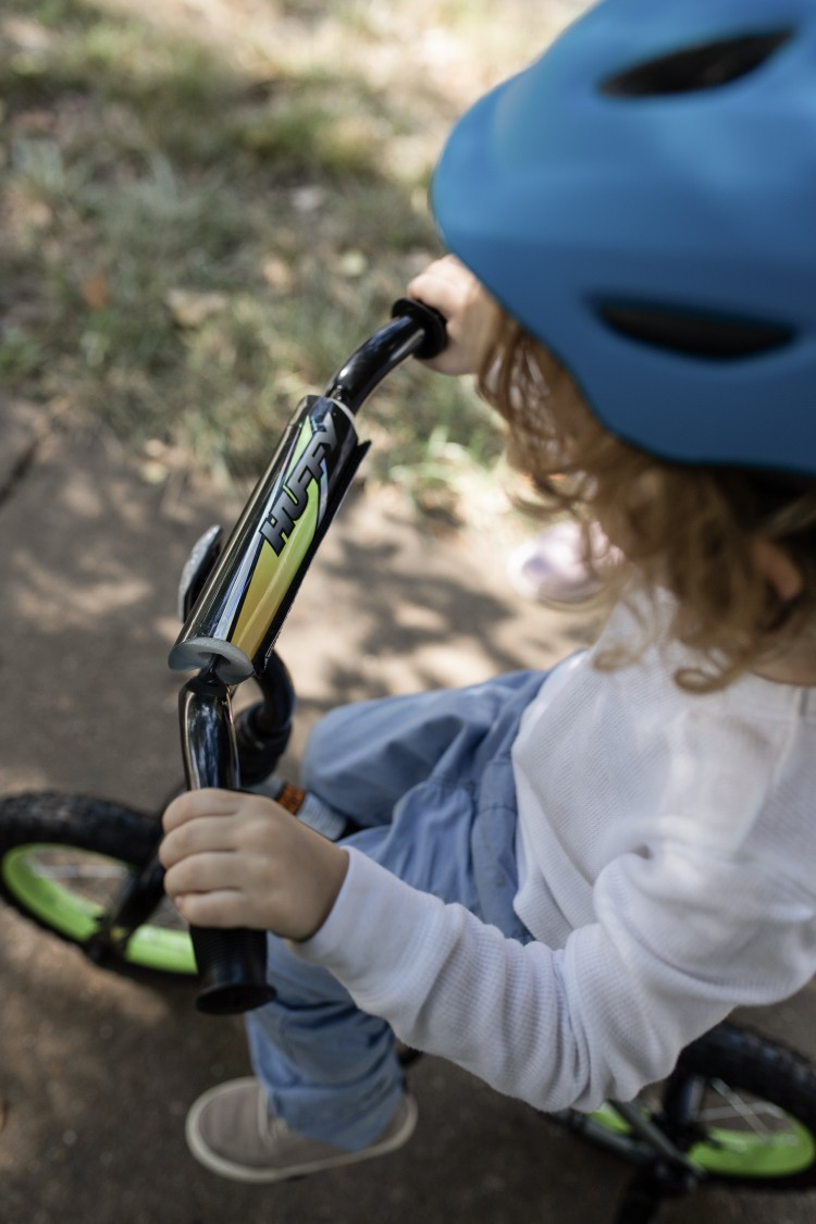 12 inch Huffy EZ build bike - black and green bike for preschoolers