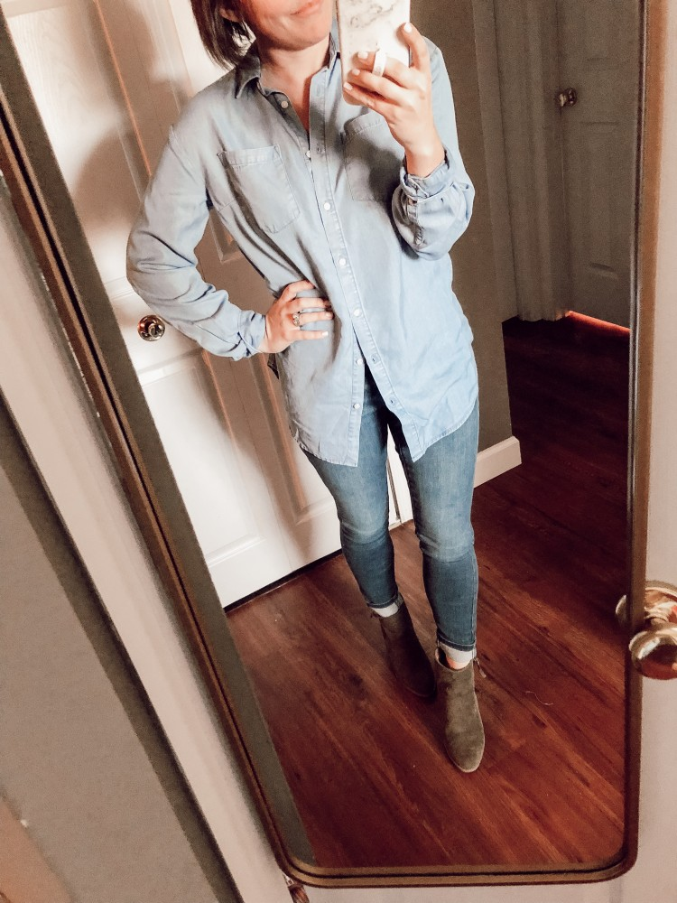 wasn't in love with this chambray tunic from target