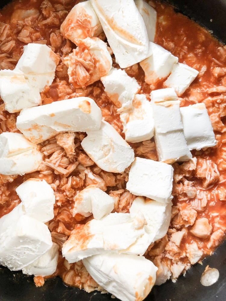 buffalo chicken dip tip: cube the cream cheese so it melts easier and quicker on the stove