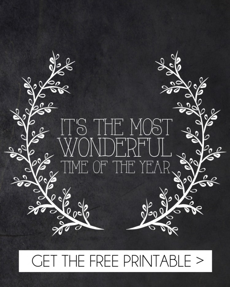 its the most wonderful time of the year chalkboard printable - so cute for the holidays! gonna print & frame for the mantle