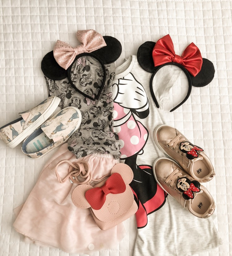 Magic Kingdom outfit ideas for girls... rose gold Minnie ears, Toms princess flats, pretty Minnie tees, and rose gold sneakers. the perfect outfit for a little girl who's Disney-bound! #disney