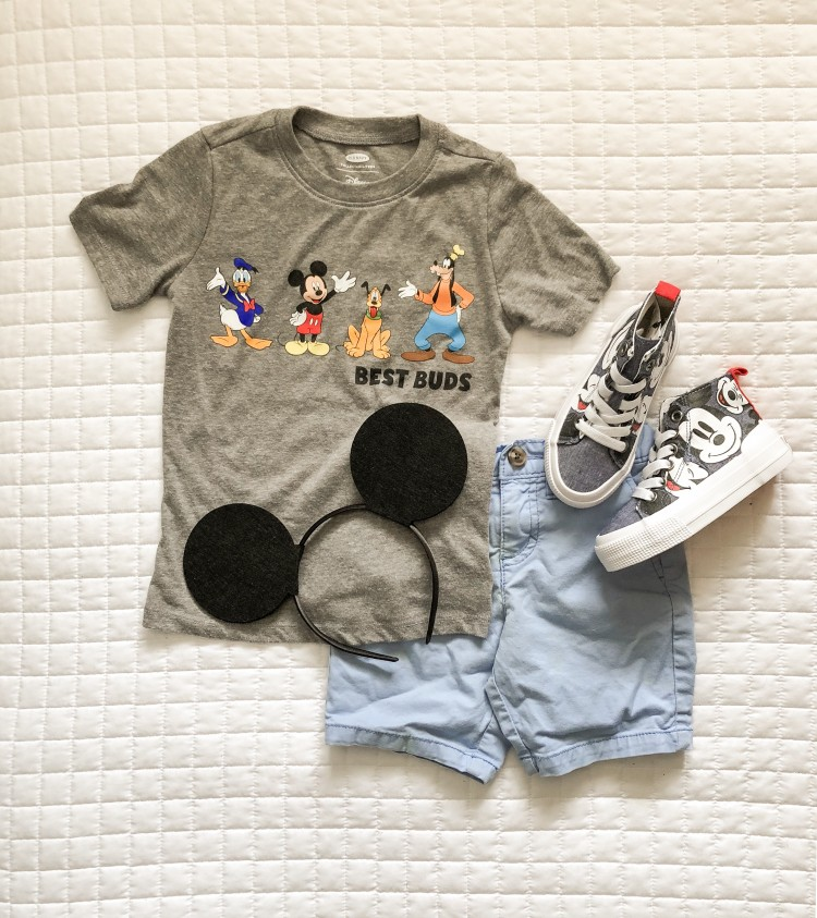 loving this Mickey Mouse outfit for a little boy to wear to Disney. high-top Mickey sneakers + classic Mickey ears and a cute Disney & Friends grey tee = cute clothes for Disney!