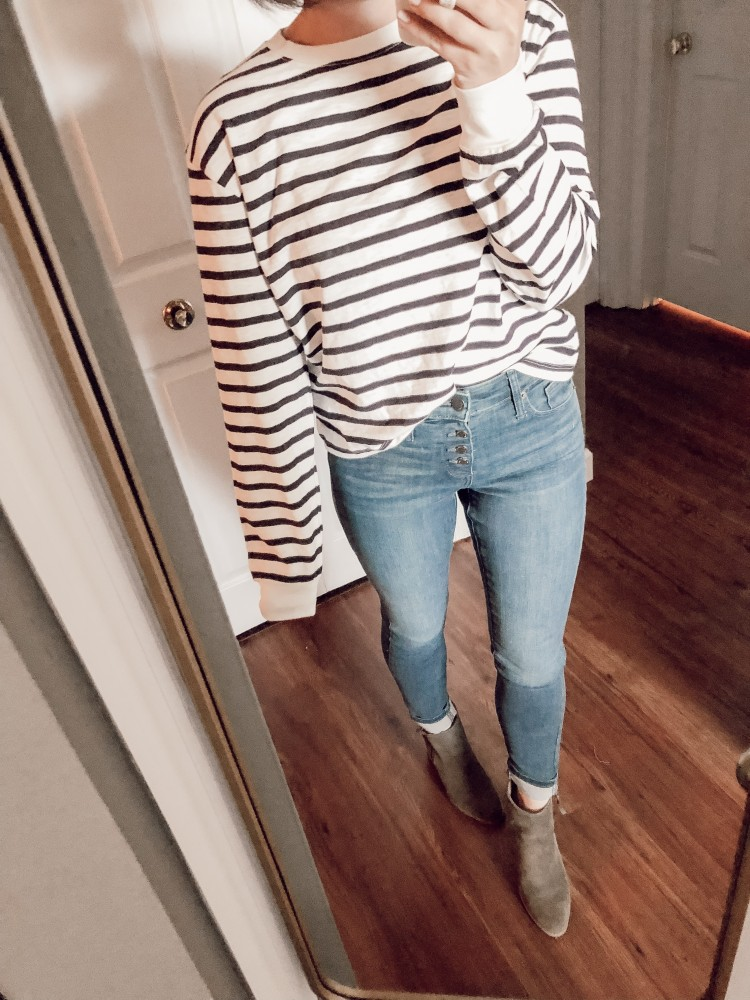 loving this striped boxy long sleeve tshirt from target with olive booties