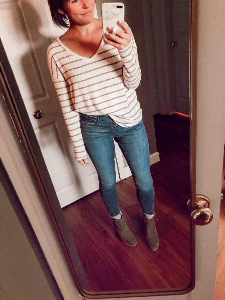 this target a new day striped brushed fleece vneck shirt is perfect for fall! love with skinny jeans and booties