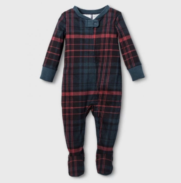 baby plaid footed sleeper from Target
