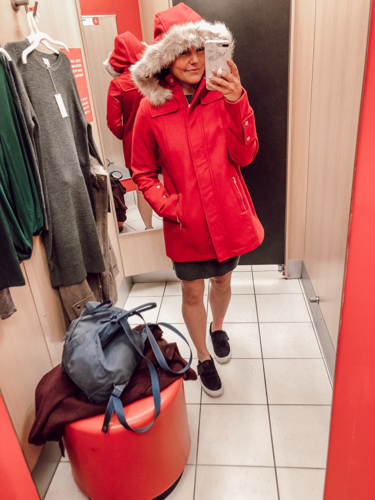 j crew parka dupe in red for a quarter of the price!