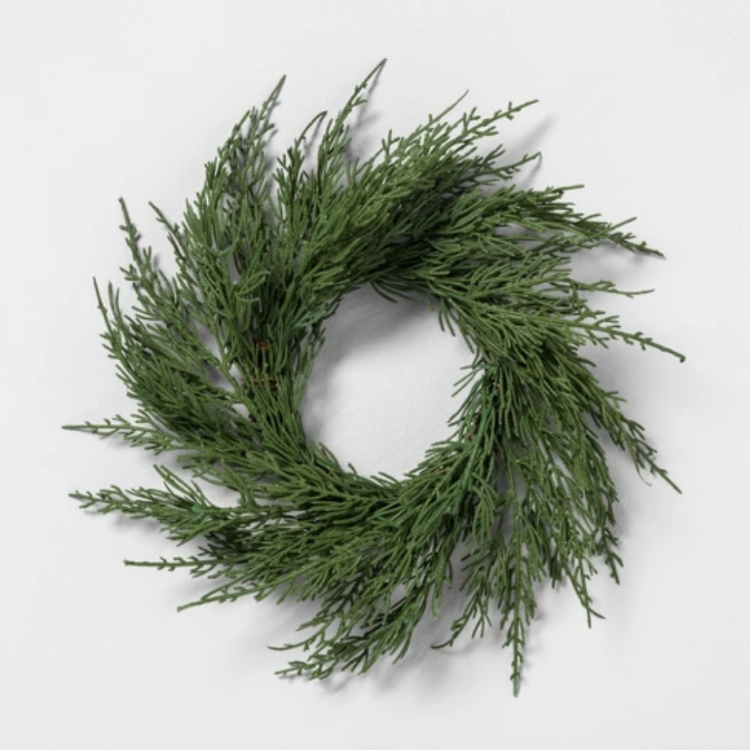 mini faux pine wreath