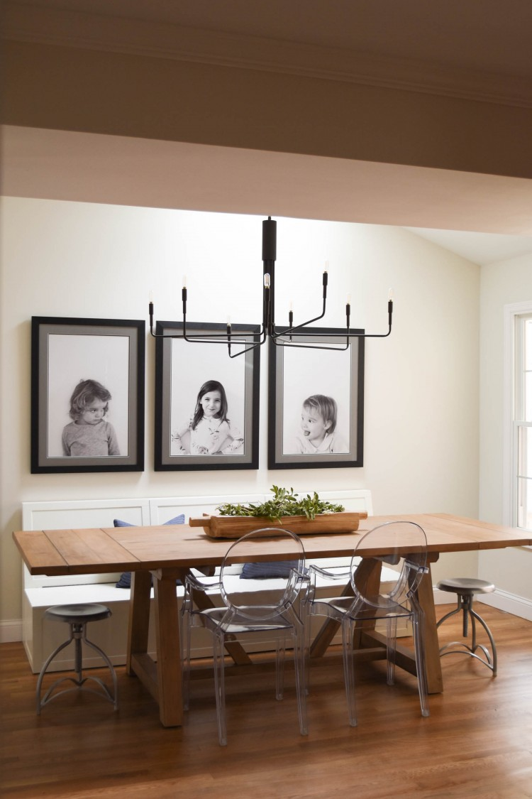 modern farmhouse lighting chandelier from Crate and Barrel - love the simple chandelier and vaulted ceiling of this dining room