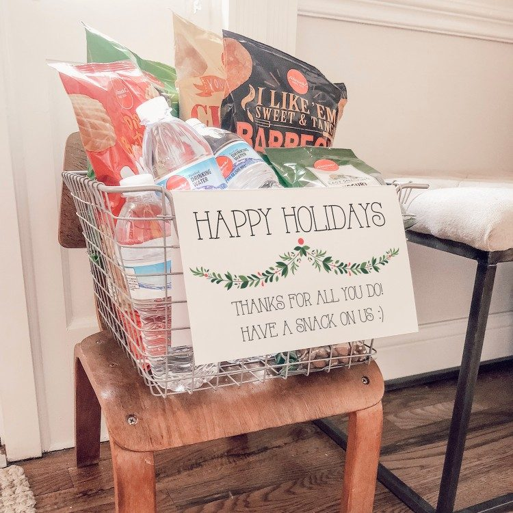snack basket for delivery drivers printable