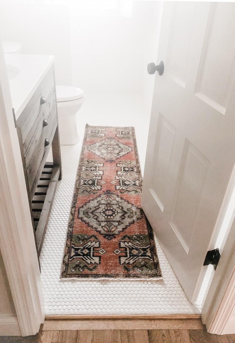 Vintage Turkish Rug In Bathroom