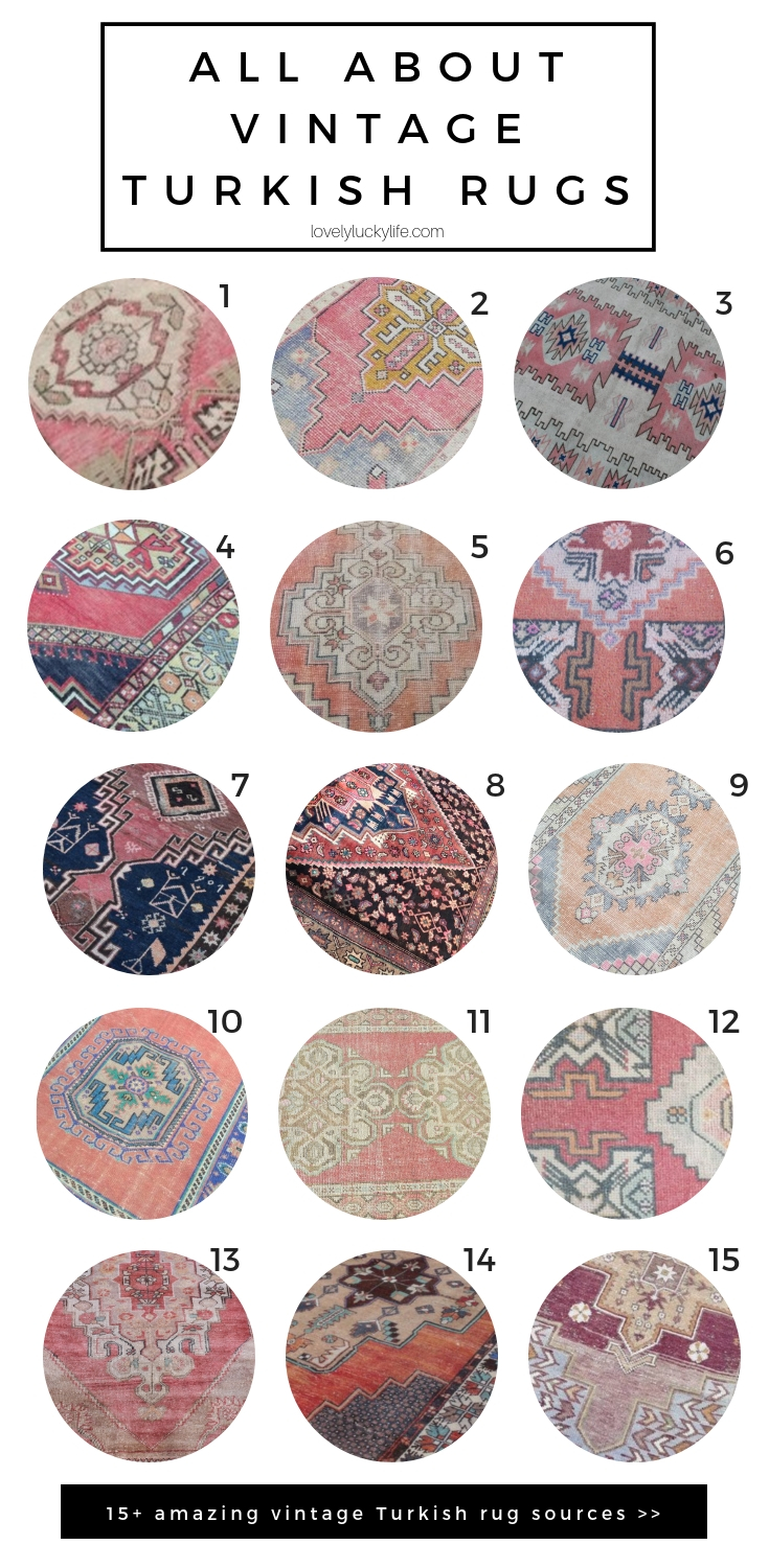 the best sources for the best vintage turkish rugs - these make the perfect accent for any room - kitchen, bathroom, hallway, entry, closet, anywhere you want a pop of color and sophistication