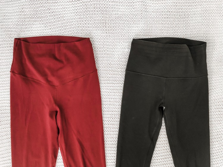 lululemon align leggings waistband versus dupe waistband - super similar with a slightly different shape