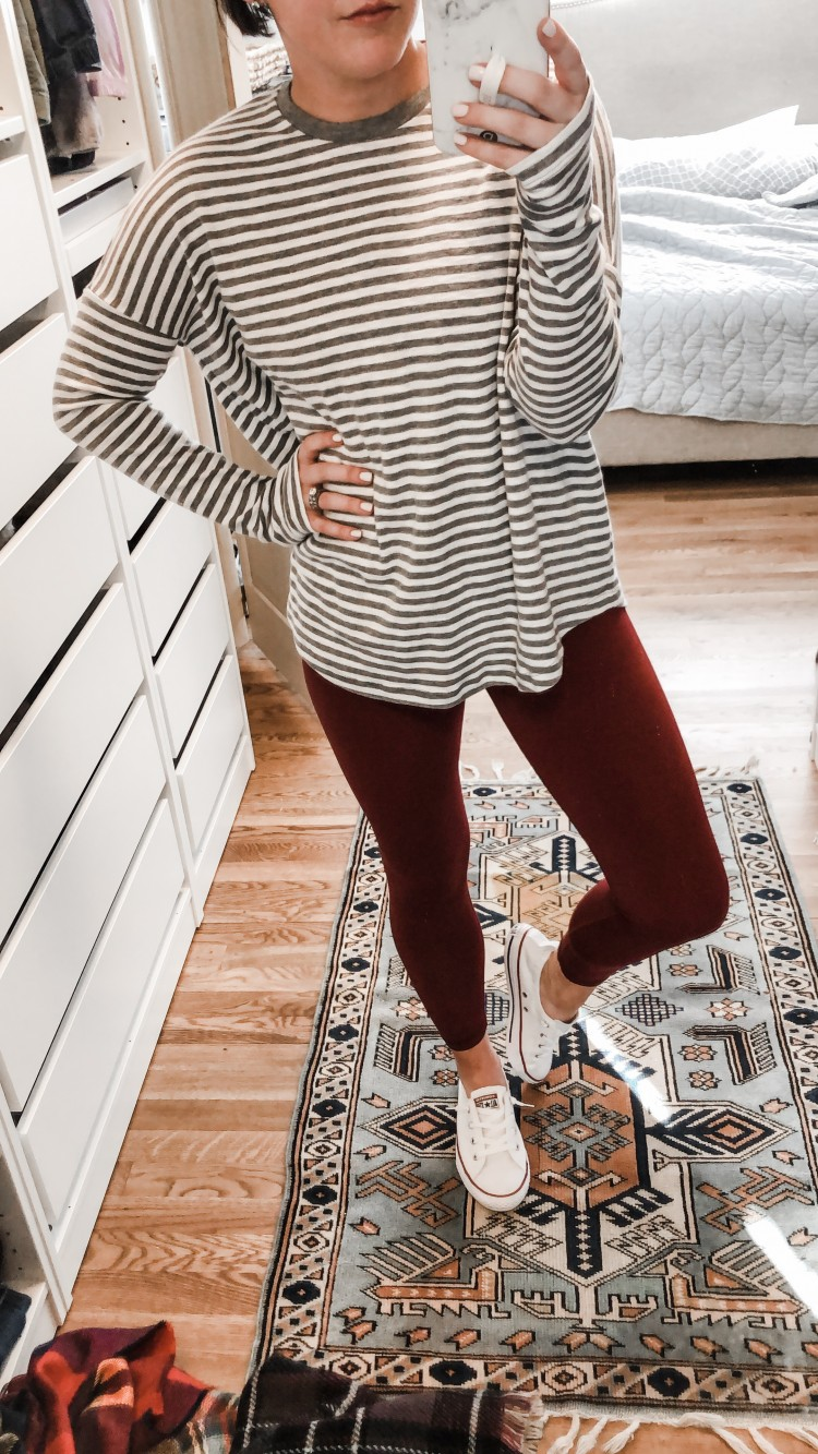 cutest outfit for running errands or running after kids! outfit idea for toddler moms - comfy striped tshirt with soft red leggings and white converse