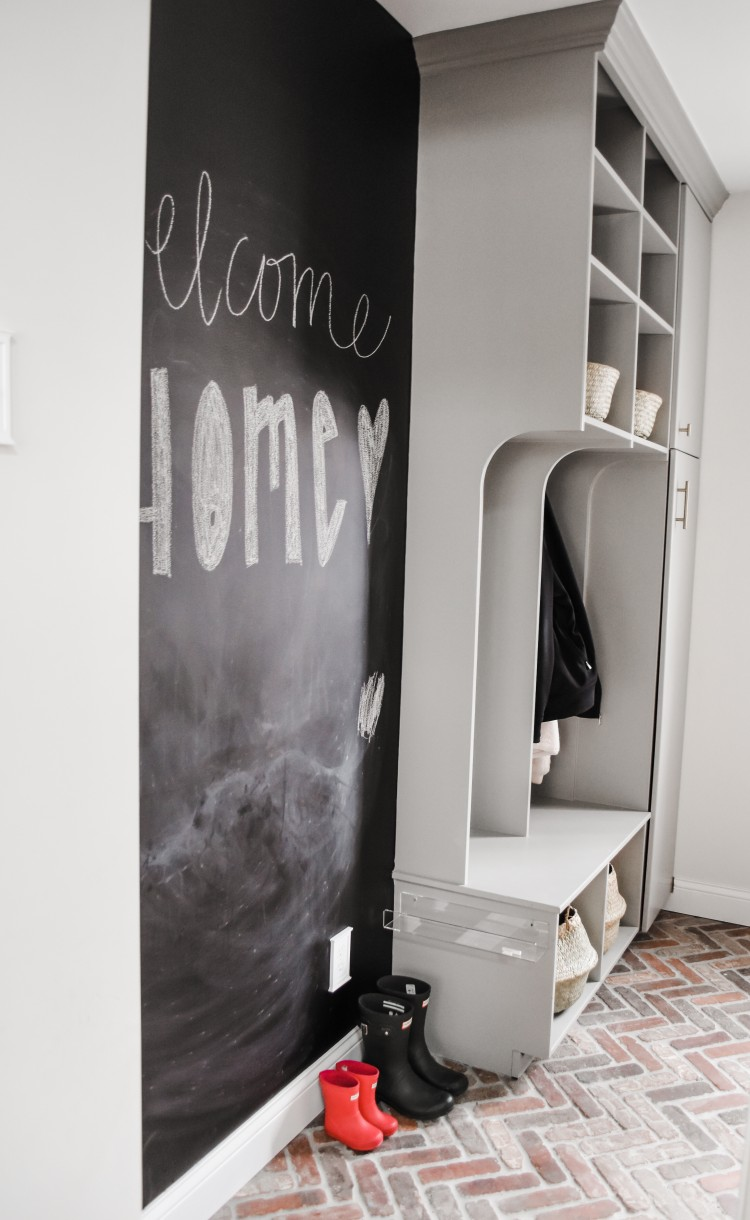 love the idea of having a chalkboard wall in the mudroom