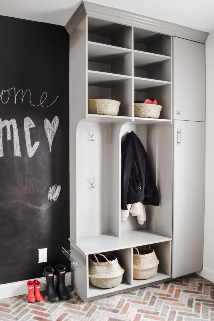 great mudroom design for a REAL FAMILY! lots of practical storage solutions