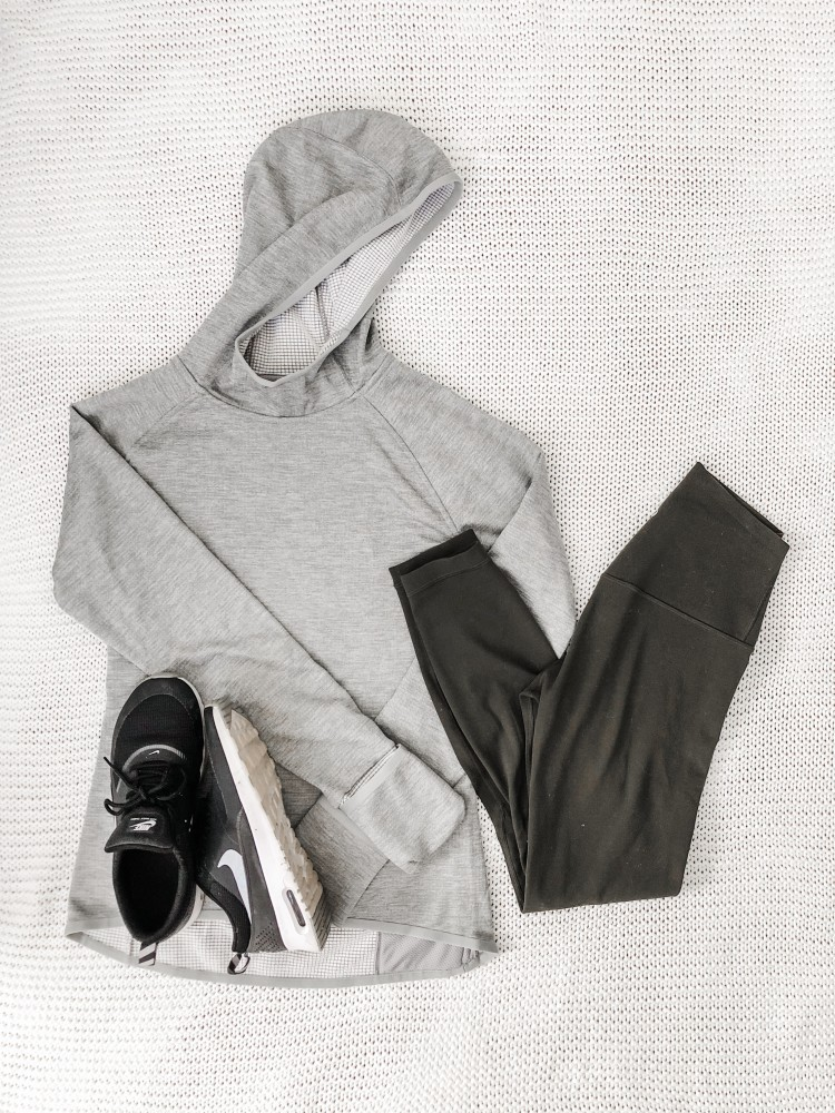 grey hoodie from core10 on amazon and lulu align leggings - cute workout outfit