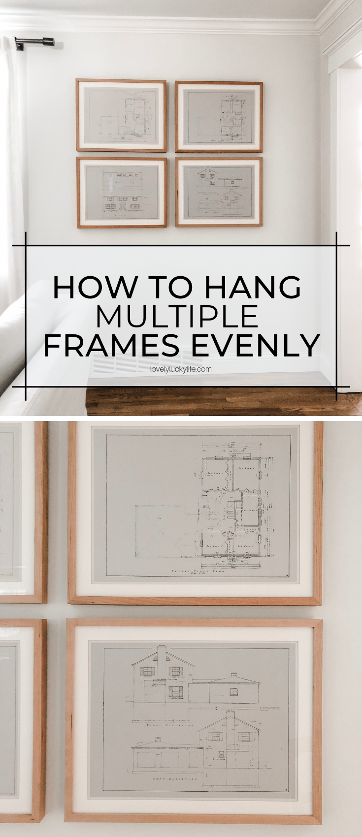 how to hang a group of 4 pictures easily and with only a few tools!