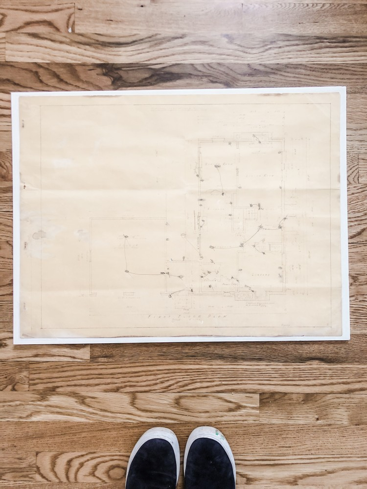 old original blueprint found in the wall during a renovation