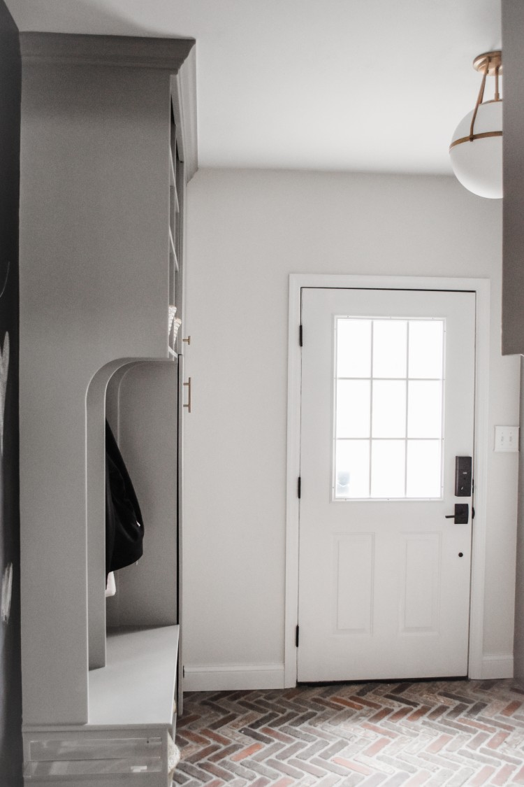 paint color in this mudroom is cape may cobblestone by benjamin moore