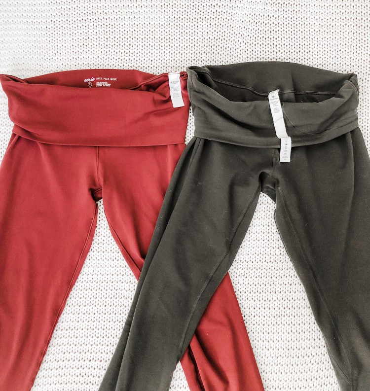 align leggings vs aerie leggings - the lululemon pair have a hidden pocket