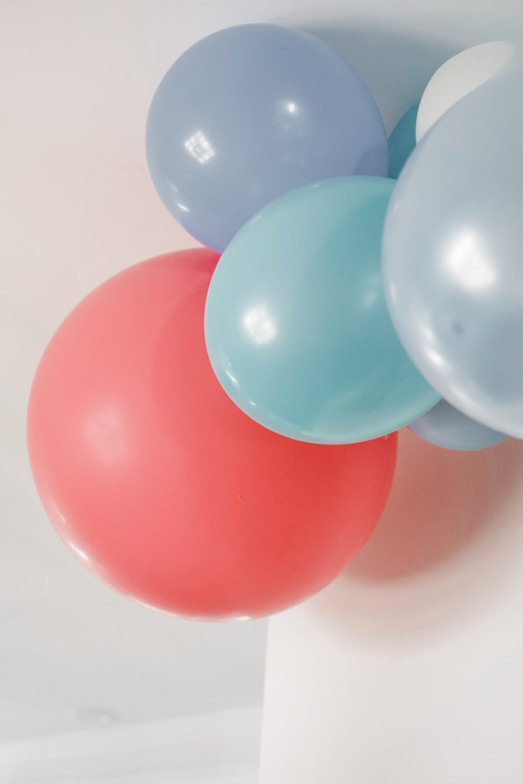 blue and pink birthday party decorations