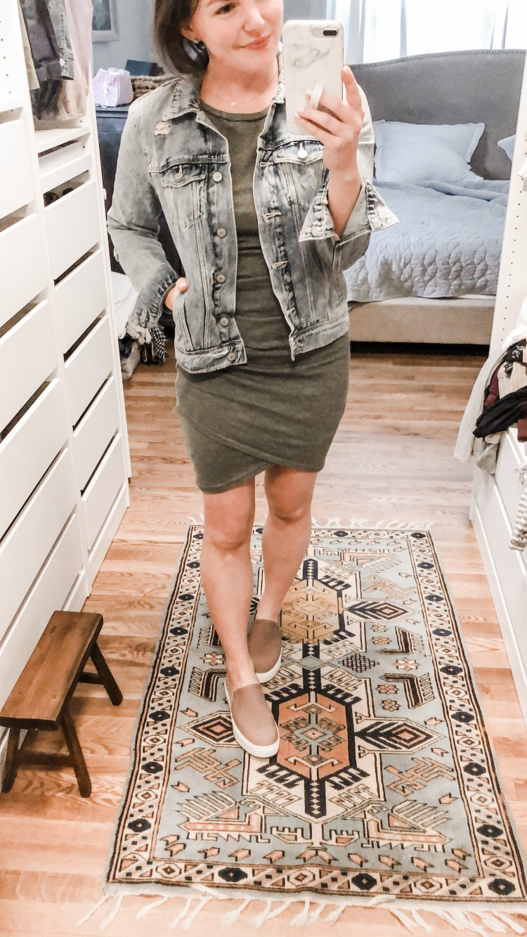 how to style sneakers with dresses - pair a form fitting wrap dress with dr scholls abbot platform sneakers and an easy denim jacket