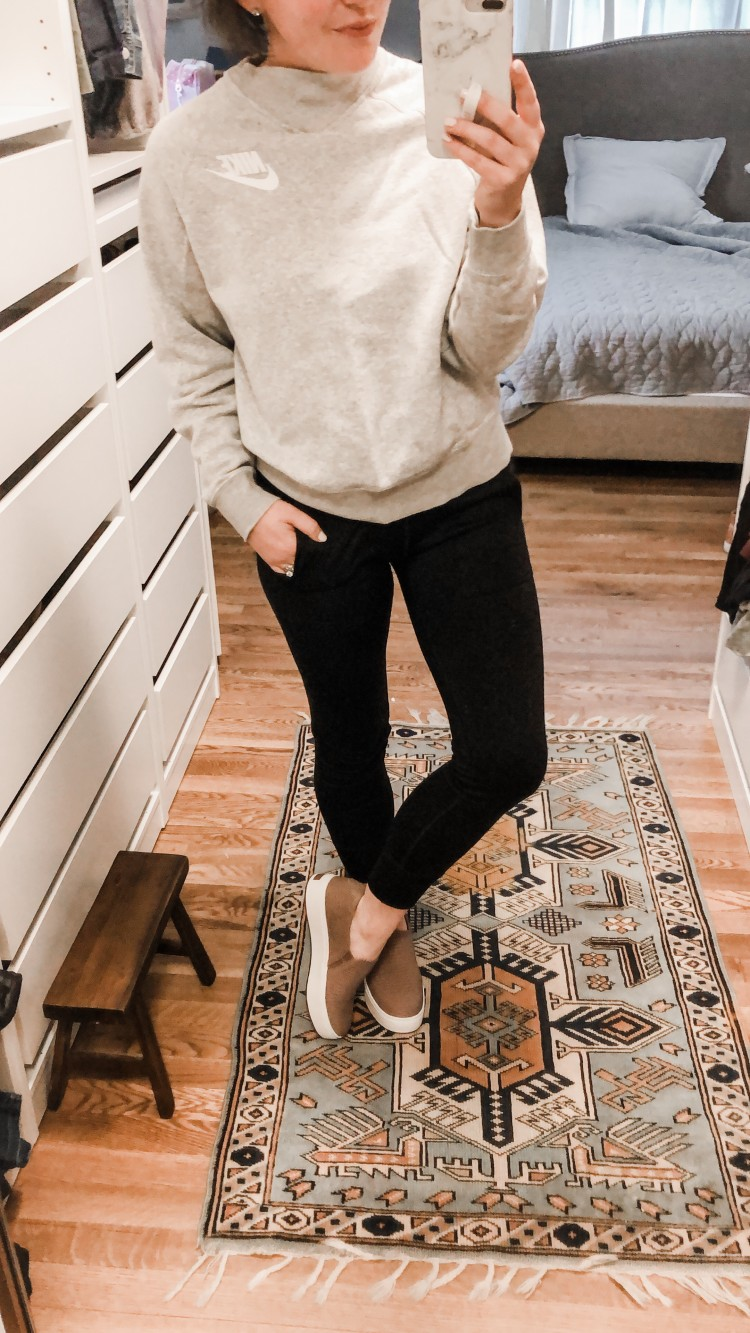 casual cute outfit - funnel neck nike sweatshirt and comfy black joggers with dr scholls sneakers