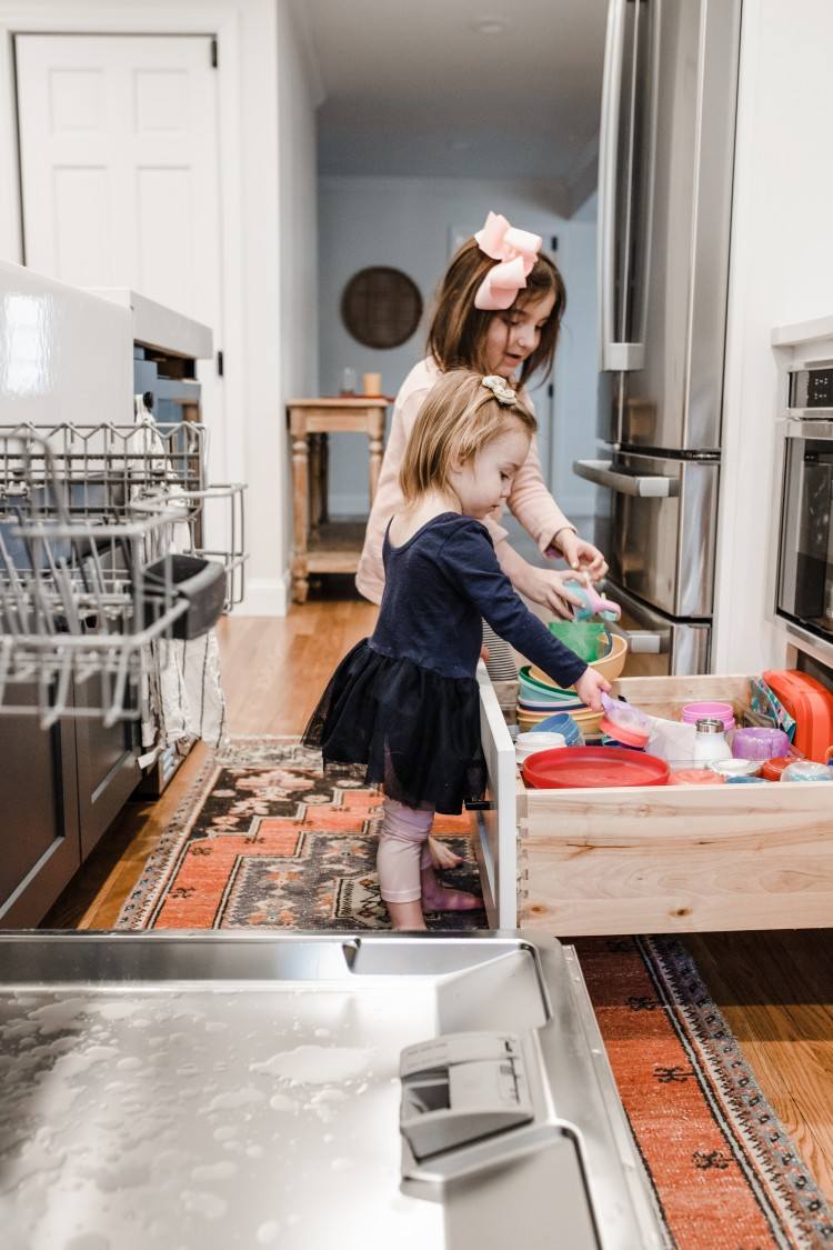 pull out cabinet in kitchen for kids dishes, cups, etc