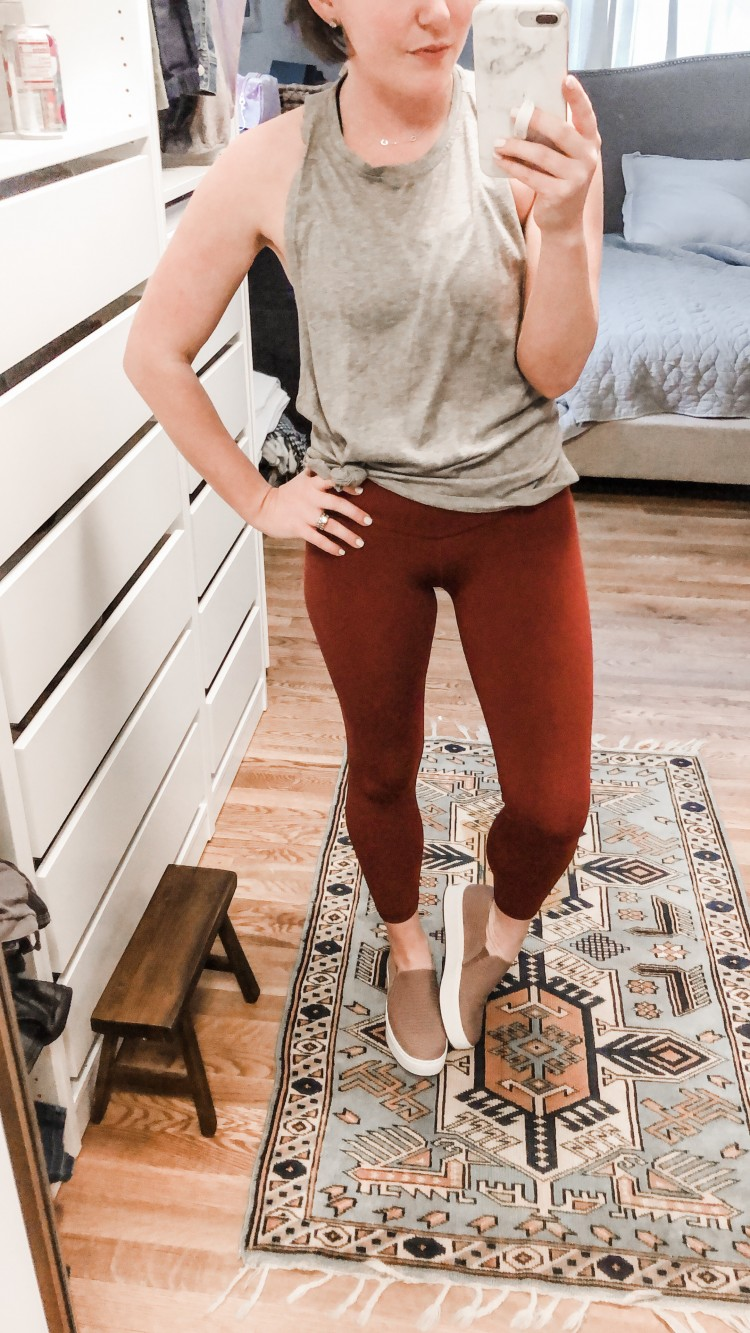 lululemon dupe leggings and a grey tank for a cute workout outfit - how to style platform sneakers