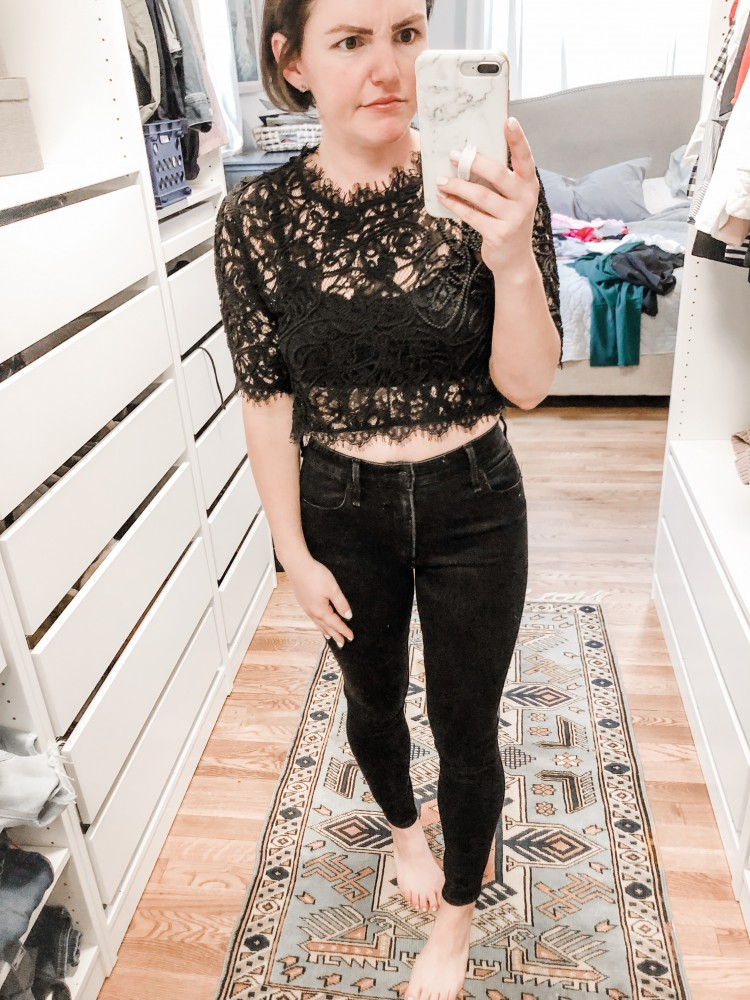 black lace top from shein