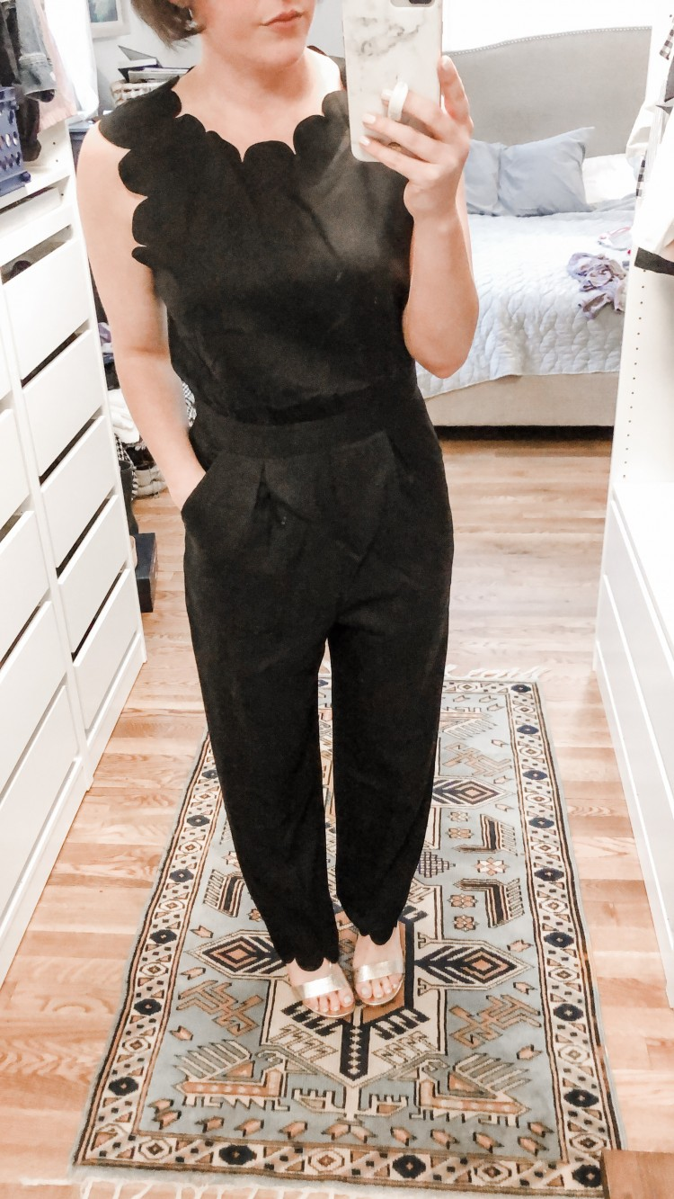 black scalloped jumpsuit from Shein - a real mom's review