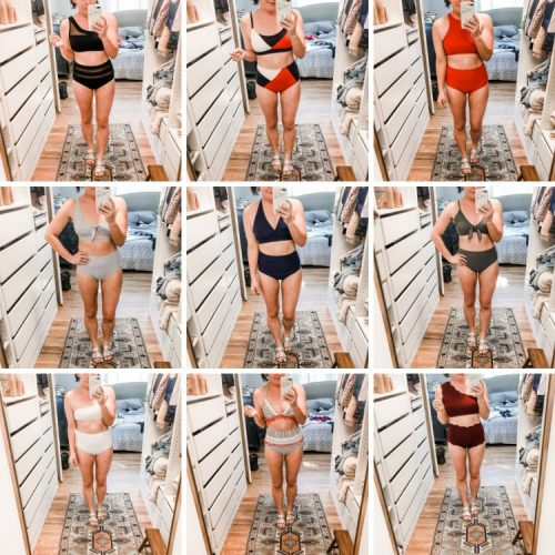high waisted swim try on for moms
