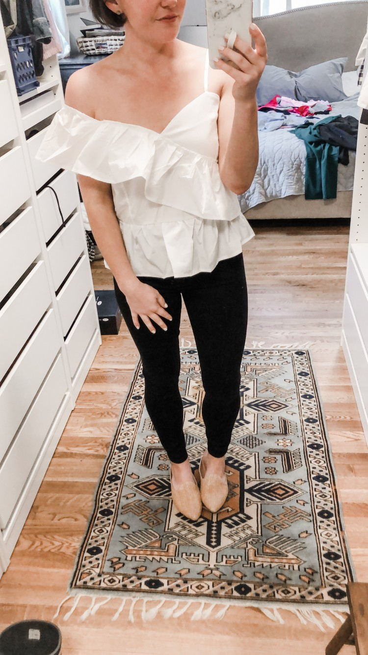 one shoulder white top from shein