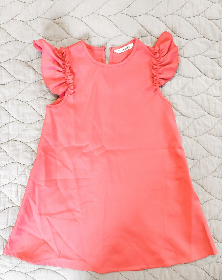 ruffle sleeve trapeze dress from shein for little girls - an honest review of shein's quality