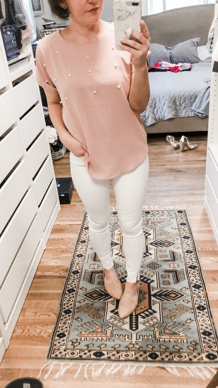 pink pearl top from Shein