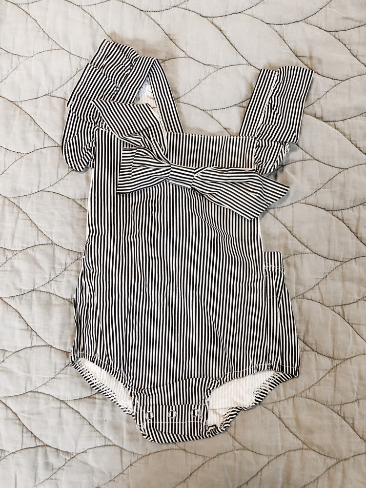 striped ruffle romper for baby girl from shein - a real review