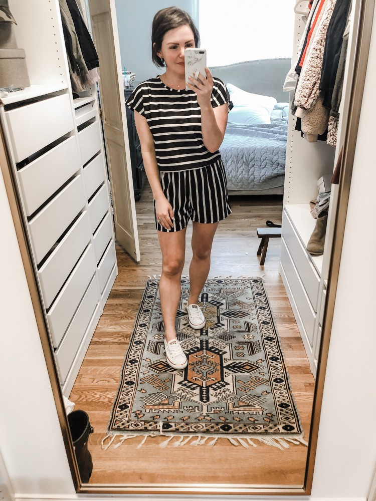 striped black and white romper from amazon