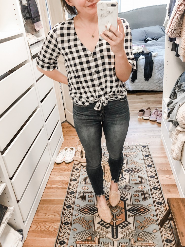 v neck gingham plaid top from abercrombie