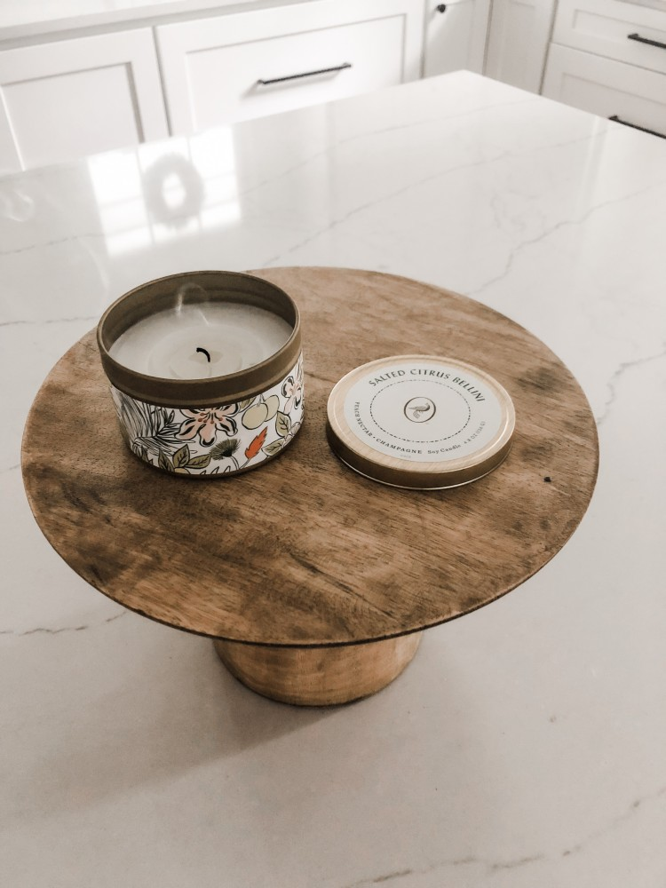 Kitchen decor - a great wooden pedestal and this Bellini Candle is so good!