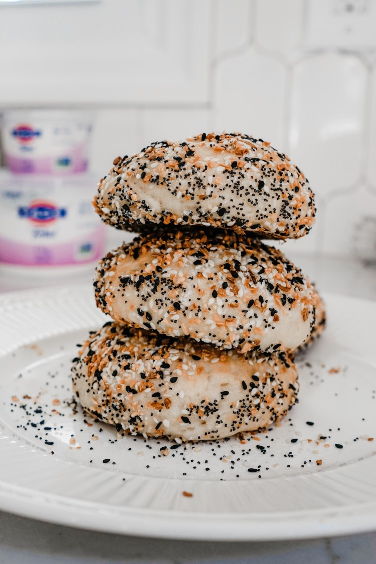 bagel goals! you can make these everything bagels in your oven at home with only a handful of ingredients