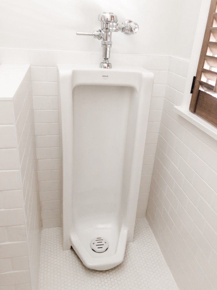 LOVE this idea! add a full-length urinal to your bathroom. hide it behind a half wall if you don't want it to be the focal point. this urinal from Kohler is actually gorgeous!