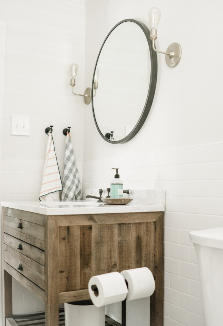 how to do mixed metals in a small bathroom - shades of gunmetal and gold
