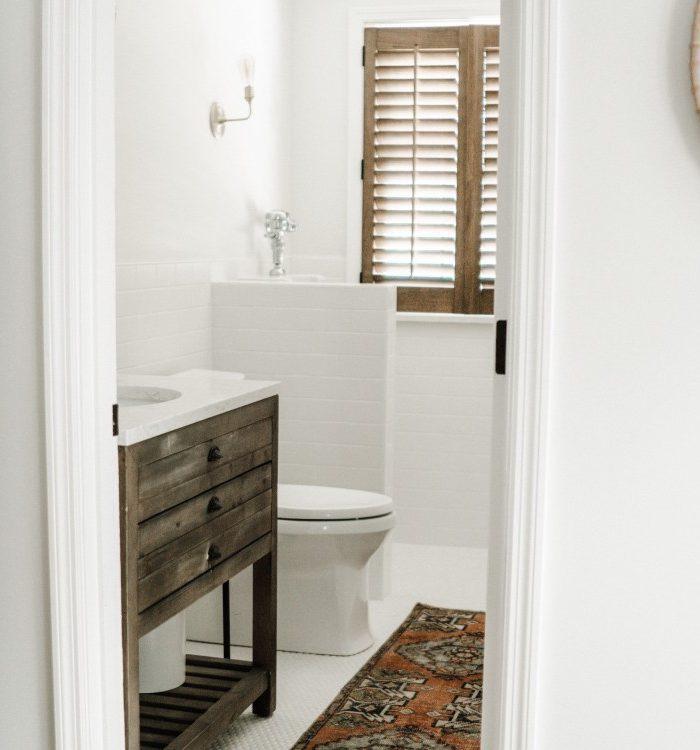 White Half Bath Reveal + Stuff You Should NEVER Flush Down the Toilet