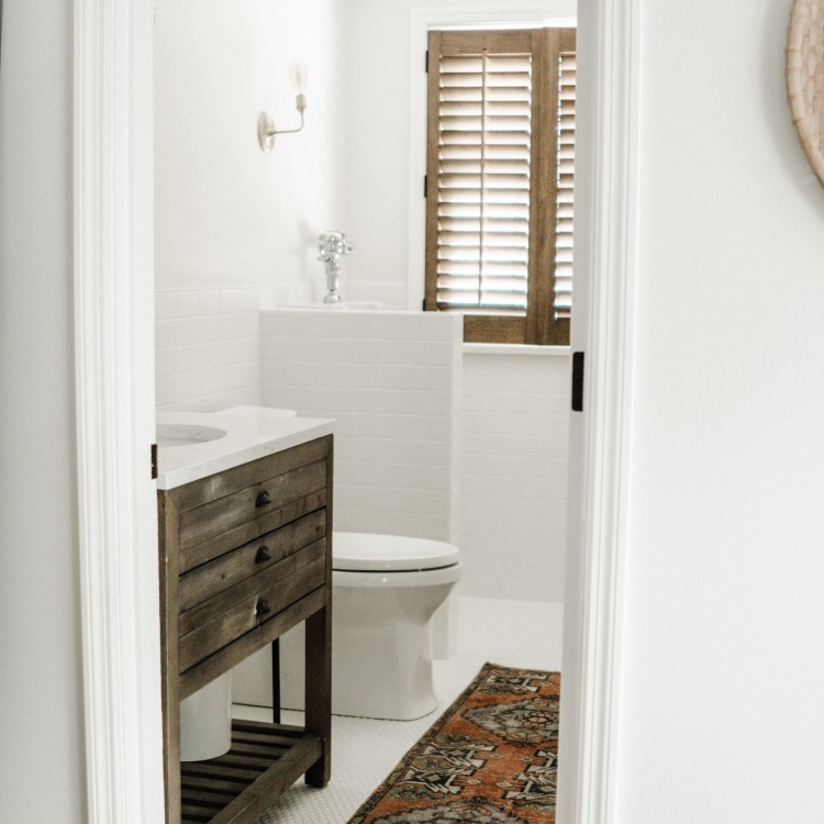 White Half Bath Reveal + Stuff You Should NEVER Flush Down the Toilet