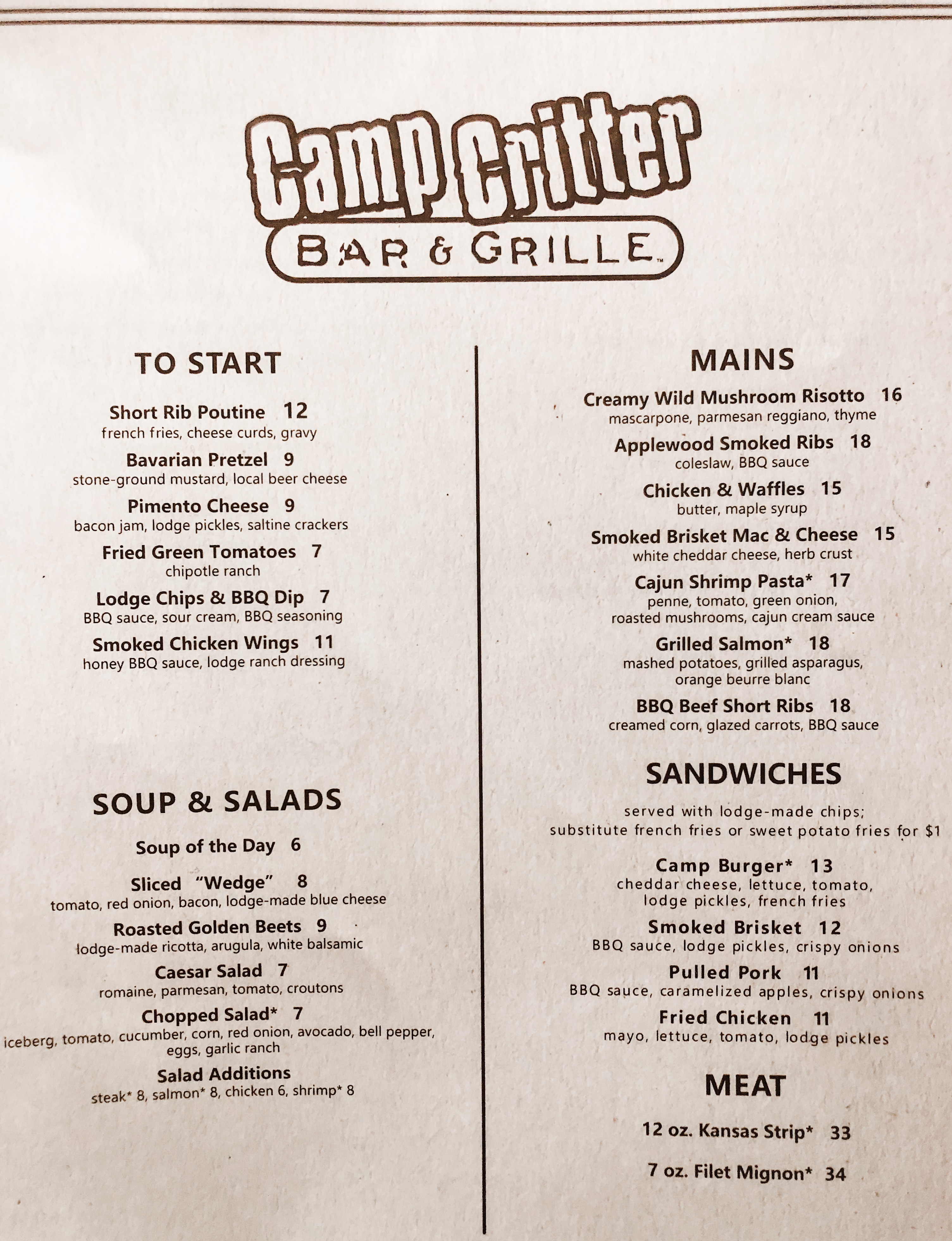 Great Wolf Lodge Camp Critter Grill Menu