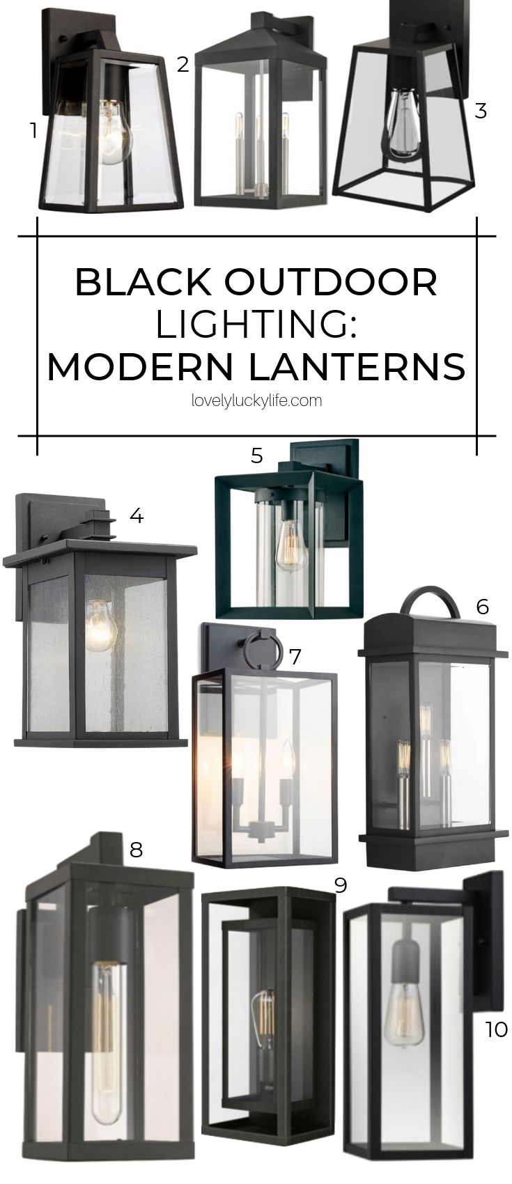 love these modern classic black outdoor sconces and lanterns as an alternative to farmhouse lighting! these still have a vintage industrial vibe but aren't as 'Fixer Upper' as farmhouse