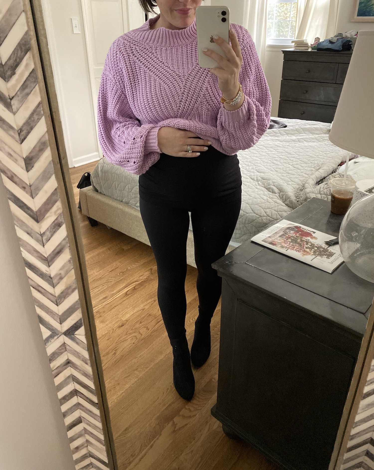 maternity outfit with a cropped sweater